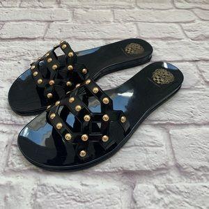 Vince Comuto black & gold beaded PVC sandals